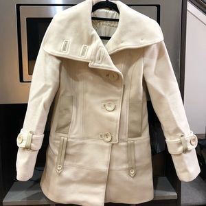 Ivory wool and leather Mackage coat